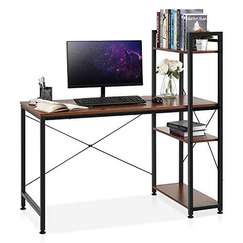 Kealive Computer Desk with 4 Tier Bookshelves, Study Writing...