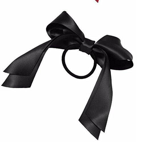 1pcs belleza headwear Niñas Satén Lazo Pelo Banda Cuerda Ponytail Holder Negro