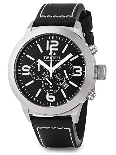TW Steel Herren Analog Quarz Uhr mit Leder Armband TWMC33