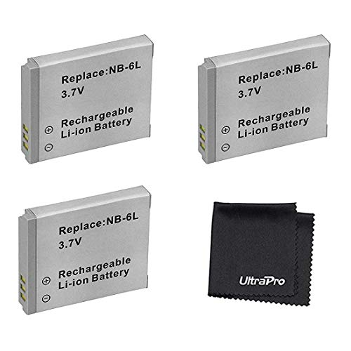 3-Pack NB-6L / NB-6LH High-Capacity Replacement Batteries for Select Canon Digital Cameras. UltraPro Bundle Includes: Deluxe MicroFiber Cleaning Cloth