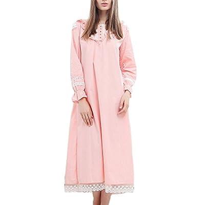 Singingqueen Womens Victorian Nightgown Vintage Cotton Sleepwear Nightdress Loungewear Pajamas Robe