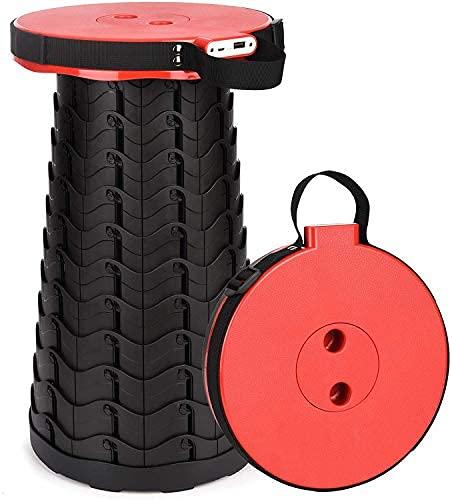 Taburete portátil retactable con cargador de teléfono móvil 4400mAh, taburete telescópico ajustable para adultos de servicio pesado..