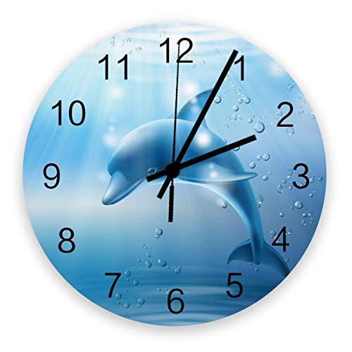 GOSMAO Runde Wanduhr,Delphin, Meer, Meereslebewesen,Wohnkulturuhr Für Wohnzimmer Schlafzimmer Büro