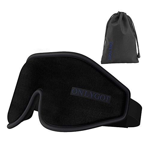 Onlygot アイマスク 安眠 遮光 睡眠 旅行 立体型 低反発 圧迫感なし 軽量 柔らかい 昼寝に最適(ブラック)