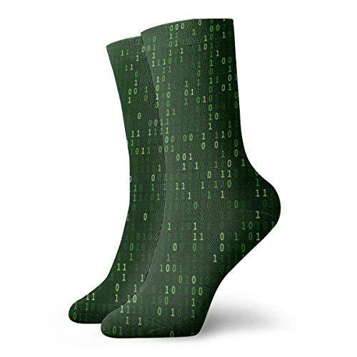 Unisex niedliche Sportsocken für Laufen, Sport, Wandern, Matrix-Code Stream Green Data Binary Screens