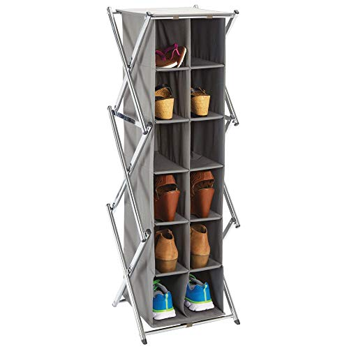 mDesign Mueble Zapatero Alto para el Pasillo, Armario o Dormitorio – Zapatero Estrecho de Metal y Tela – Organizador de Zapatos con 12 Compartimentos – Gris Oscuro y Plateado