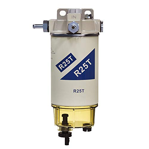 iFJF R25T Fuel Filter/Water Separator Assembly Replacement for 245R Series Diesel Engine 10 Micron with 2 Fittings Replaces WK940/38X 20386081 33771