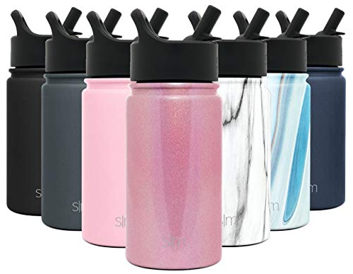 Simple Modern 14 oz Summit Water Bottle with Straw Lid - Hydro Vacuum Insulated Tumbler Flask Double Wall Liter - 18/8 Stainless Steel Shimmer: Rose Quartz