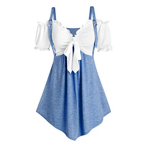 Blusa de verano de manga corta con hombros descubiertos de manga corta para mujer, tallas grandes, para el día de Pascua, San Patricio (azul-XL)