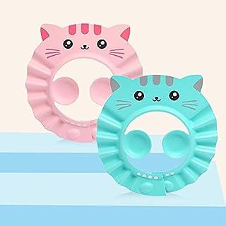 Mumoo Bear 3 Pack Baby Shower Cap Cartoon Cat Pattern Waterproof Bathing Hat Adjustable Kids Shower Cap Infants Soft Shamp...