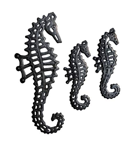 Sea Life Wall Decorations, Handmade, Sea Horse Family, Set of 3, Silver Bronze, Haitian 13 In. x 5 In, 8 In. x 3 In. (Seahorse Decor)