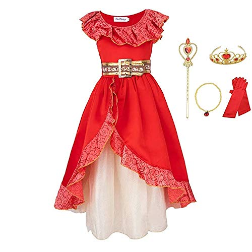 FINDPITAYA Kostüm Prinzessin Elena von Avalor Fantasy Blume Kleid Mädchen mit 4 Zubehörteilen (5-6 Jahre)