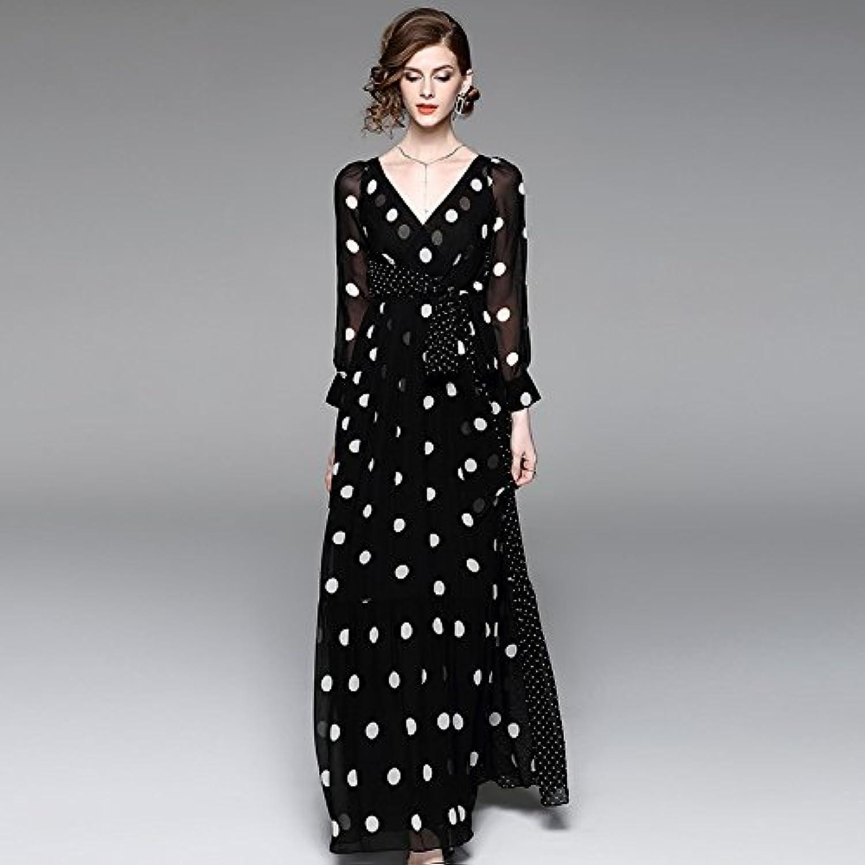 ZHUDJ Ladies Fall V Collar Dress Skirt Wave Temperament