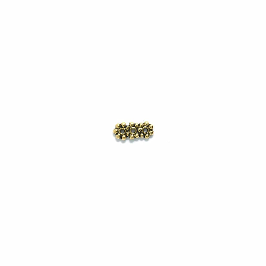 Shipwreck Beads Pewter 3-Hole Daisy Spacer Bar, Antique Gold, 6 by 15mm, 6-Piece