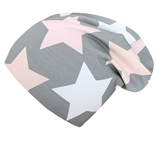 Wollhuhn ÖKO Long-Beanie, Wende-Mütze, ganzjährig, Big Stars grau/rosa/pink, Innenseite Uni grau, für Mädchen, 20150715, Größe M: KU 52/54 (ca 3-7 Jahre)