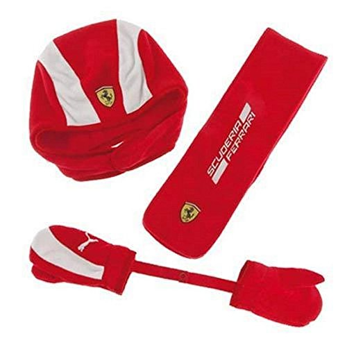 Bambino insieme Ferrari cuffia, sciarpa e guanti