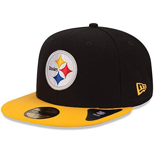 NFL 59Fifty Gorra ajustada de los Pittsburgh Steelers de la NFL, colores del equipo, negro/plateado, 7 1/8