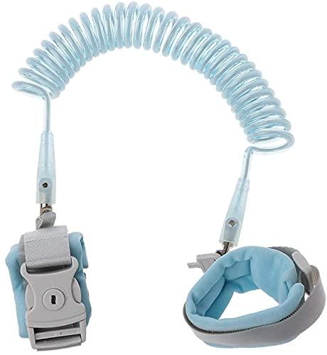 REIGEE Anti Lost Wrist Link Add Key Lock Toddler Leash Baby Walker Safety Belt Wristband Walking Strap Rope Adjustable Harness 1.5M 2M 2.5M - Blue