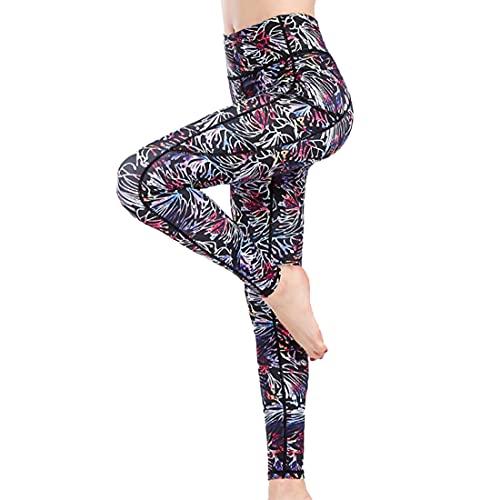 PPPPA Pantalones de yoga estampados para mujer Legging de entrenamiento Control de barriga con bolsillo lateral con cintura alta Control de barriga Entrenamiento Correr Estiramiento Leggings de yoga