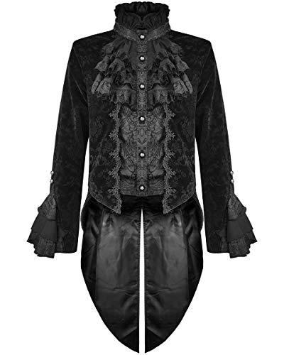 Devil Fashion Hommes Gothique Queue de Pie Veste Noir Damas Velours Brocart Victorien Steampunk Régence Aristocrate Vampire Mariage - Noir, 4XL