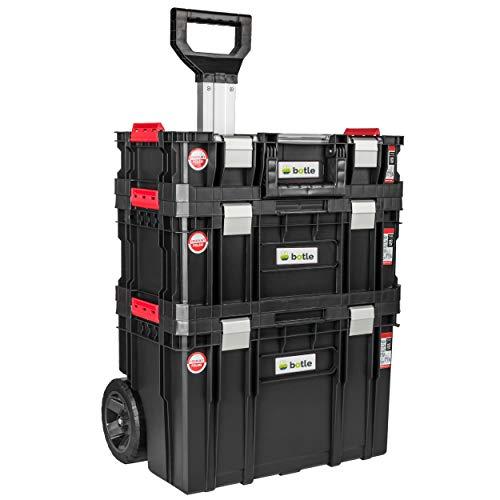 Caja de herramientas con ruedas, 3 cajas apilables, caja de herramientas, capacidad de carga de hasta 100 kg, cierres de aluminio, organizador para piezas pequeñas en la tapa