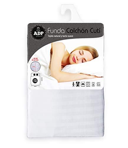 ADP Home - Funda de colchón Cutí con Cremallera L, 150x200+30 cm (para Cama de 150 cm), Blanco