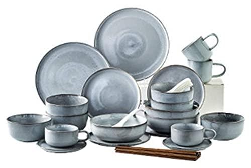 . Conjunto de vajillas de cerámica de 28 Piezas, vajilla de Cocina con vajilla de vajilla de vajilla de vajilla de cerámica. LingGe