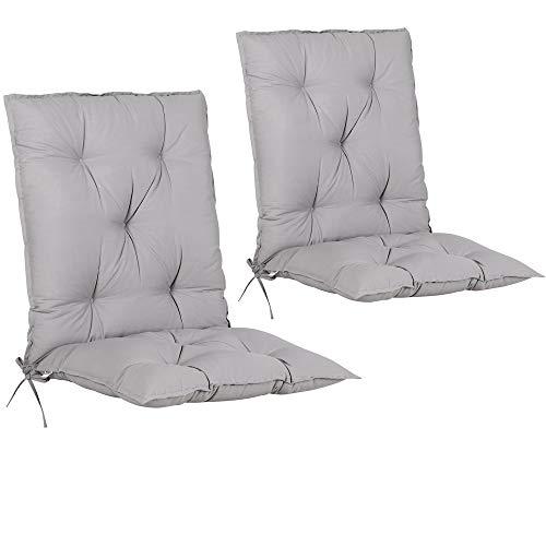 Detex Set de 2 Cojines de sillas con Respaldo Gris Uni Almohadillas Rellenado para sillones para jardín Interior Exterior