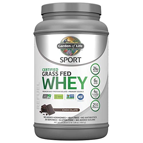 Garden of Life Sport Certified Grass Fed Clean Whey Protein Isolate, Chocolate, 23.28 oz (1 lb 7.28 oz / 660g) Powder