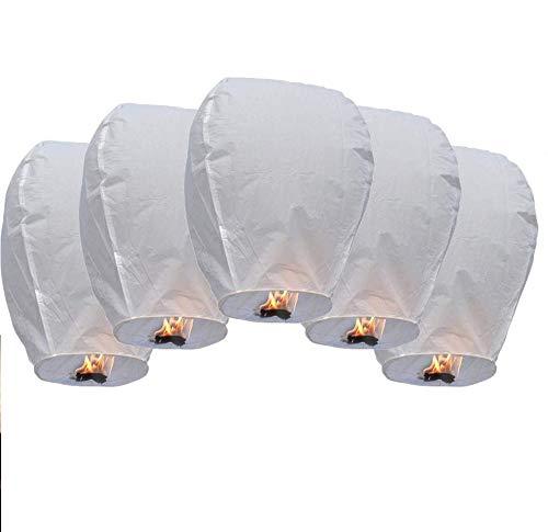 DECARETA 5 PCS Linternas de Papel Farolillo,Linternas Volantes,Cielo Linterna de Papel Romántico,Linterna Kongming,100% Biodegradable,Respetuosa con el Medio Ambiente,Muy Seguro-35 * 50 * 90cm