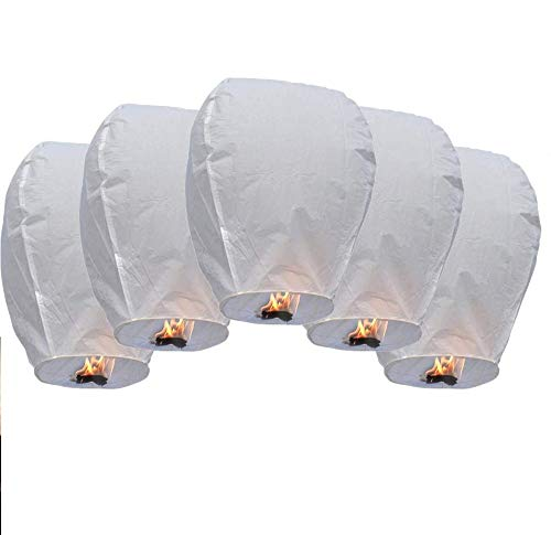 DECARETA Lanterne Volanti Biodegradabile al 100% Lanterne Cinesi con Materiale Ignifugo Lanterne da Far Volare Mongolfiere Cinesi per Matrimonio (5 Pezzi)
