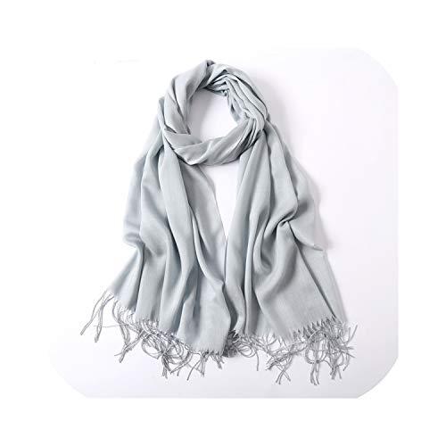 Bufanda de invierno Mujer Cachemira sólida como bufandas Chales de señora Abrigos Manta de pashmina femenina Estolas gris claro