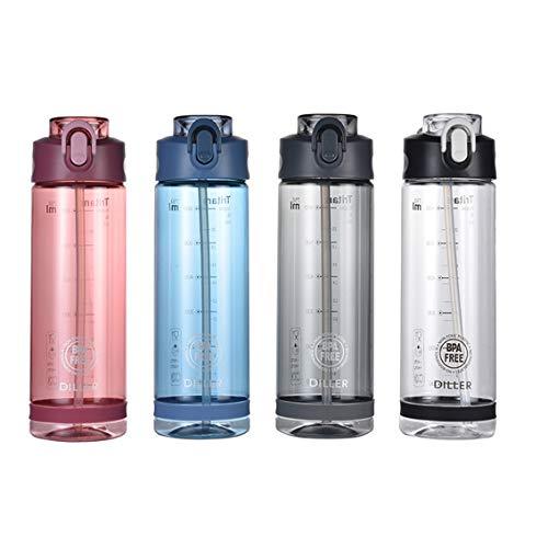 Trinkflasche mit Strohhalm für Sport, Radfahren, Laufen, klein, 850 ml/750 ml/500 ml, BPA-freier Kunststoff, Trinkflasche D24, Grey-2, 750 ml