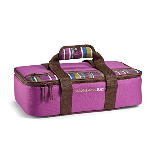 """Rachael Ray Lasagna Lugger, Insulated Casserole Carrier for Parties, Fits 9""""x13"""" Baking Dish, Purple"""