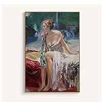 ポスターと版画壁アートキャンバス絵画、女性の肖像画壁アートリビングルームの装飾のための装飾画-70x100cmx1フレームなし