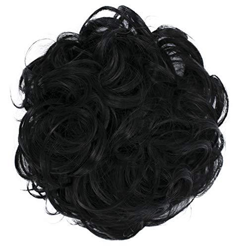 PRETTYSHOP XL Haarteil Haargummi Hochsteckfrisuren Brautfrisuren Voluminös Gelockt Unordentlich Dutt Schwarz G1E