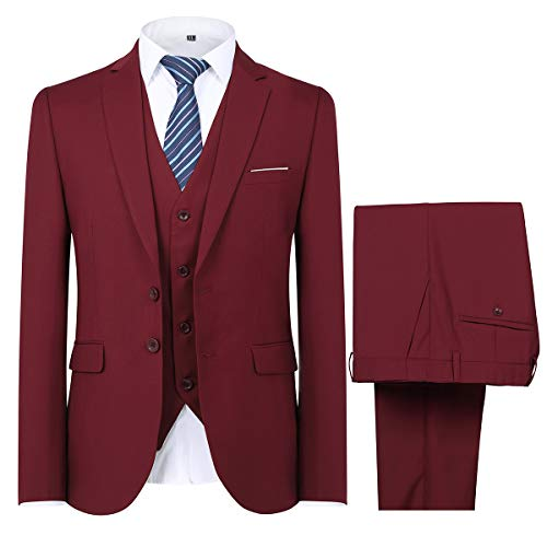 Mens Modern Fit 3-Piece Suit Blazer Jacket Tux Vest and Trousers,Wine Red,Small