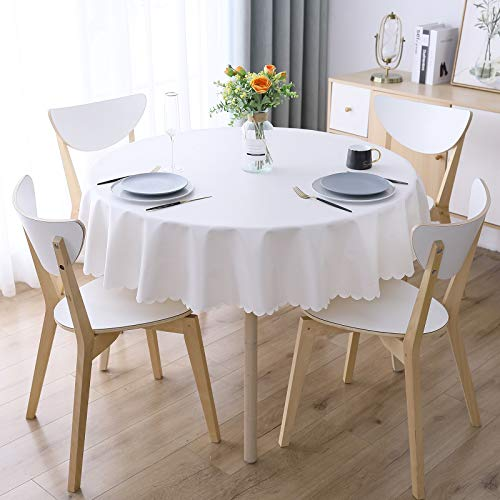 """Smiry Heavy Duty Vinyl Tablecloth, Waterproof and Oil-Proof Solid Color Wipeable Table Cloth, Washable Table Cover for Indoor and Outdoor Use(60"""" Round,White)"""