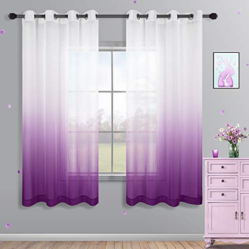 Purple Curtains 63 Inch Length for Bathroom Decor Set 2 Panels Window Voile Drapery Grommet Ombre Sheer Curtains for Bedroom Girls Room Purple and White 52x63 Long