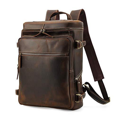 Lannsyne R-Serie Herren Vintage Echtleder Rucksack Weekender Reisetasche 15 Zoll Laptop Tasche Wanderrucksäcke
