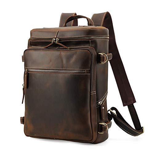 Lannsyne R-serie Vintage rugzak voor heren, echt leer, rugzak voor op reis met weekend, 15 inch laptoptas, wandelrugzakken