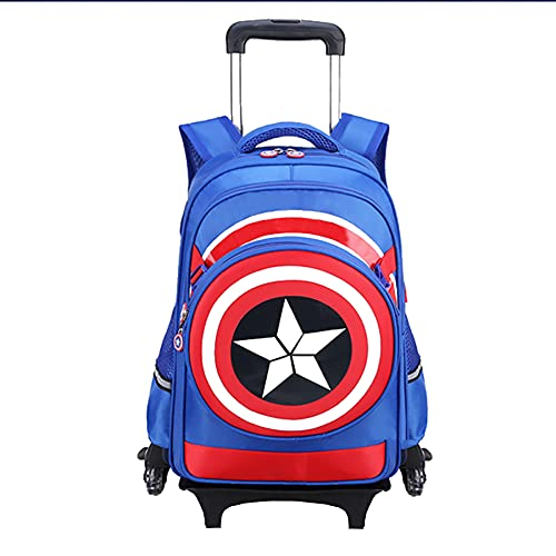 Zaino per Bambini Capitan America da Viaggio Ragazzi Borse Leggere Studenti Giorno Selvaggio Borsa Impermeabile di Moda,C-6 Wheel