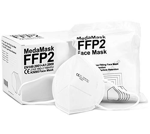 MedaMask FFP2 Mask – KN95 Face Mask – Respirator Face Mask – 5 Layers...