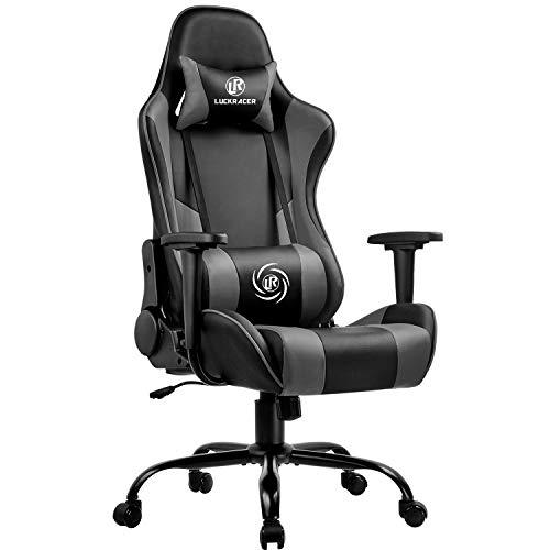 LUCKRACER Gaming Stuhl Bürostuhl Gamer Ergonomischer Stuhl die erneuerten befestigten stabileren Armlehnen Einteiliger Stahlrahmen Grau
