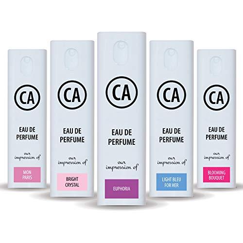 CA Perfume Best Summer Perfume Women Set Impression of (Light Blue + Bright Crystal + Blooming Bouquet + Euphoria + Mon Paris) Fragrance Sample Travel Size Parfum Sprayer (0.3 Fl Oz/10 ml) x5