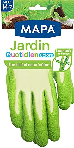 MAPA - Jardin Quotidien Colors - Gants de Jardinage Enduction Latex et Textile Bambou - Souples et Absorbants - 1 Paire - Coloris Aléatoire Rose/Vert/Bleu - Taille 7/M