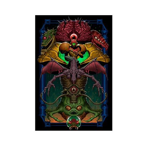 Art Peinture Super Metroid Leinwand-Poster, Wandkunst, Deko, Bild, Gemälde für Wohnzimmer, Schlafzimmer, Dekoration, 30 x 45 cm, ohne Rahmen