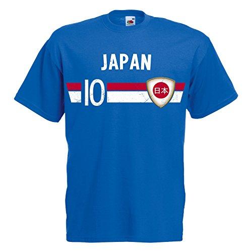 Fußball WM T-Shirt Fan Artikel Nummer 10 - Weltmeisterschaft 2018 - Länder Trikot Jersey Herren Damen Kinder Japan Nippon S