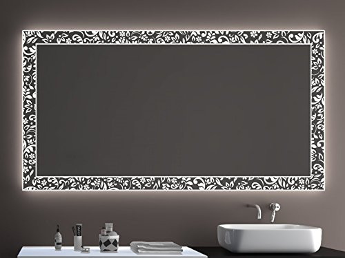 SARAR Badspiegel LD408 Exklusiv mit Laser Gravur Technik A++ LED Beleuchtung - (B) 100 cm x (H) 60 cm - Made in Germany - Badezimmerspiegel Lichtspiegel Spiegel beleuchtet