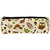 Bosque búho pájaros patrón de setas estuches de lápices bolígrafo con cremallera bolsa de cosméticos para mujeres adolescentes, niñas y estudiantes